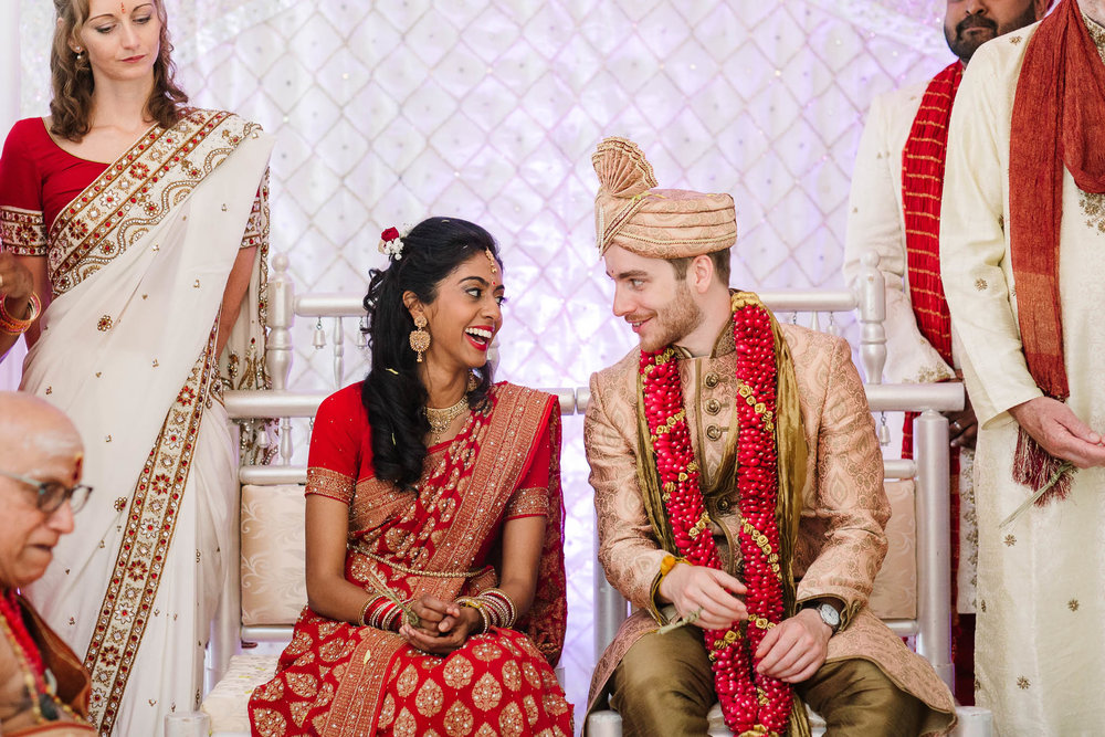 bride and groom during indian wedding ceremony