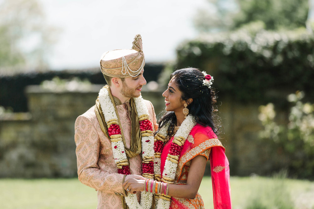 indian bride and groom at Poundon House