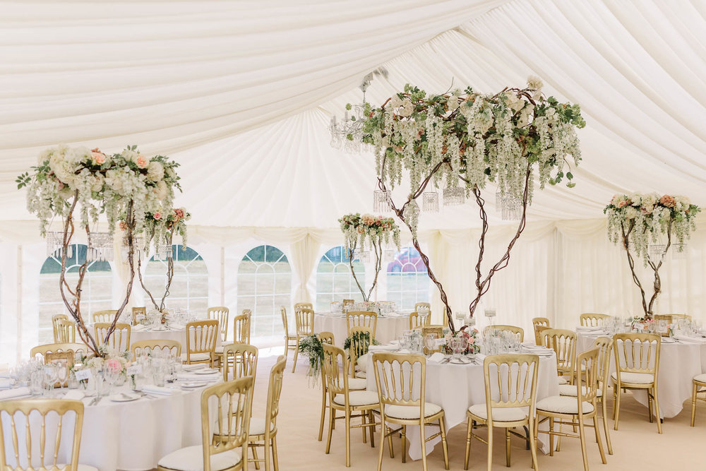 marquee wedding with lots of flowers