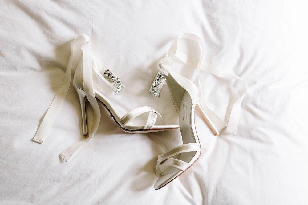 ivory ribbon wedding shoes