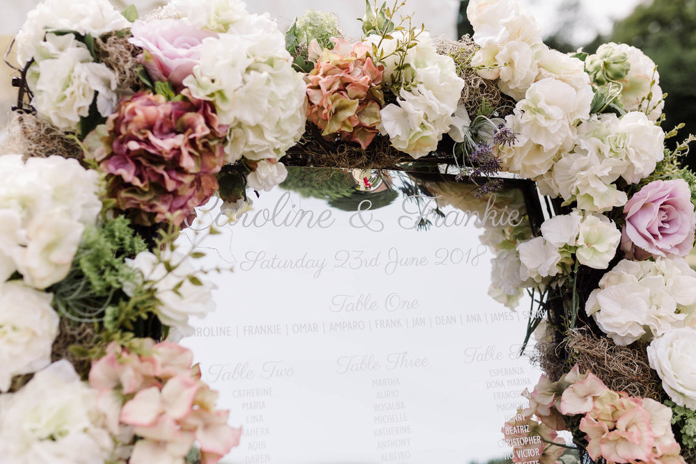 faux flower mirror table plan