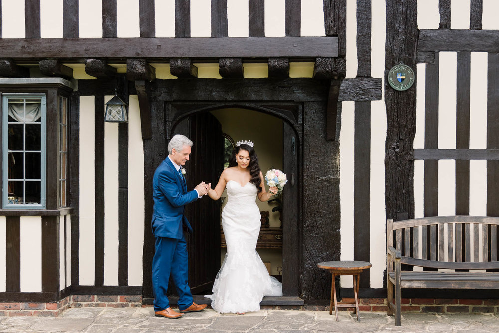 father walking bride to ceremony at brewerstreet farmhouse wedding