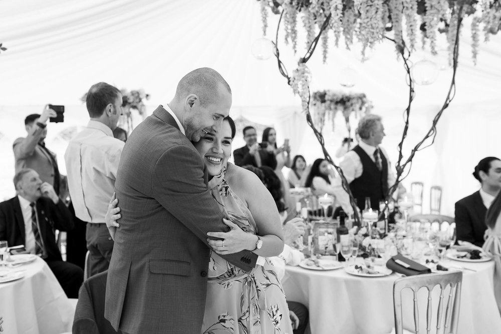 couple hugging at wedding