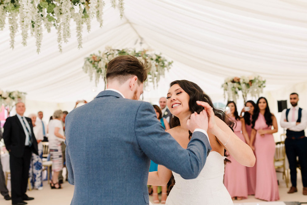 bride and groom first dance at brewerstreet farmhouse wedding