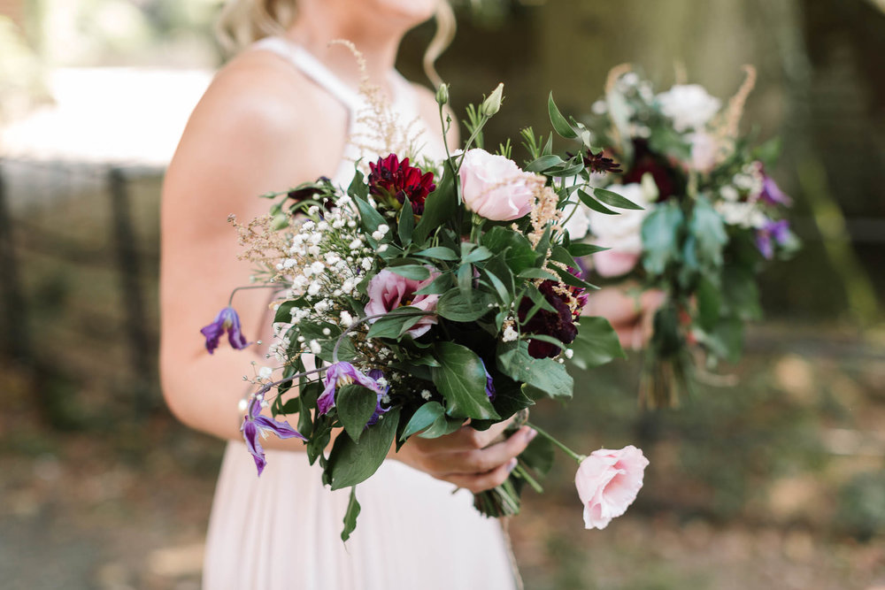 lilac and red bouquets - ENGLISH COUNTRY WEDDING AT SWARLING MANOR