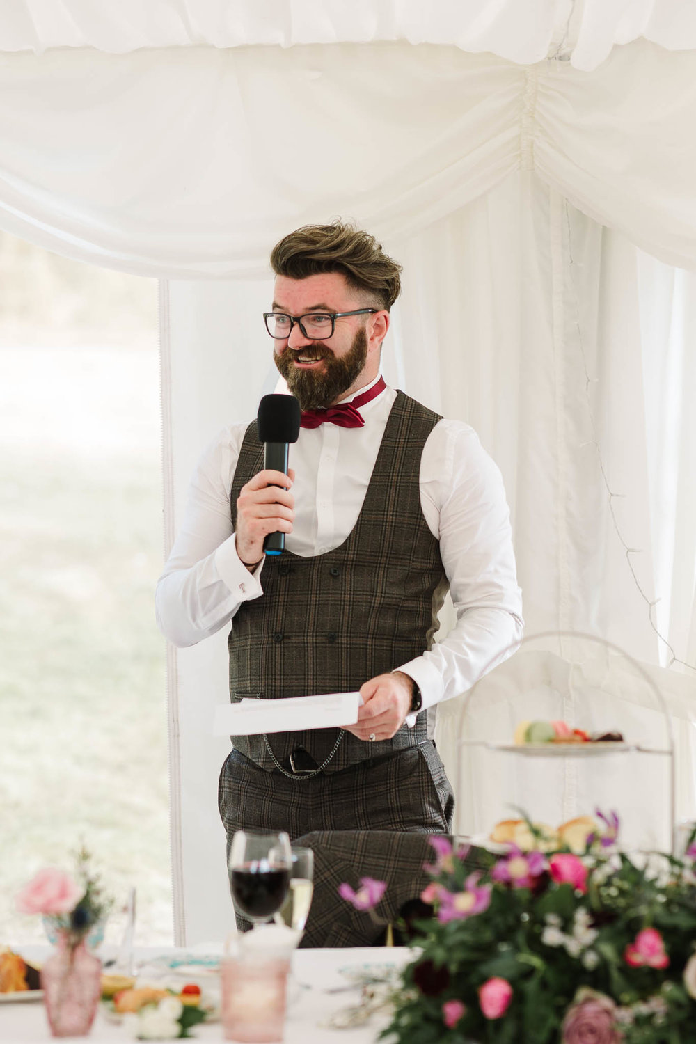 groom giving his speech at ENGLISH COUNTRY WEDDING AT SWARLING MANOR