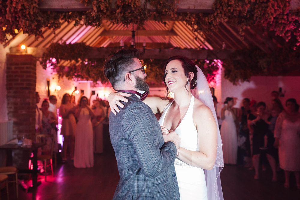 bride and groom first dance at swarling manor