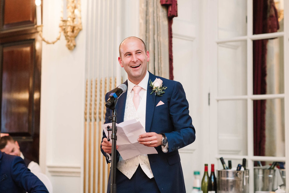 groom giving his speech at RAC club