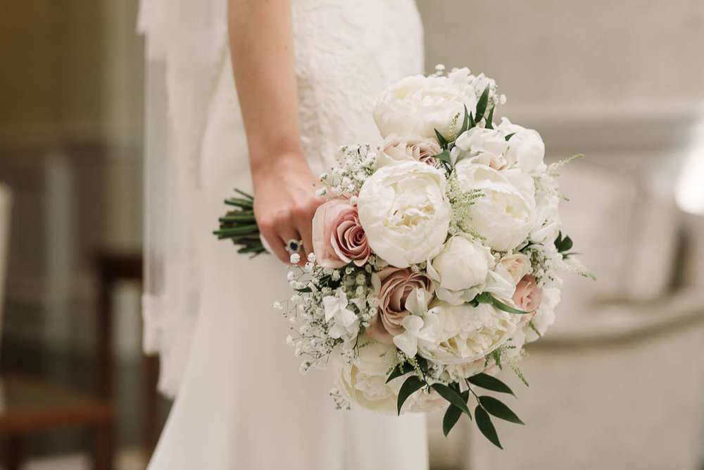 penny and pink roses wedding bouquet