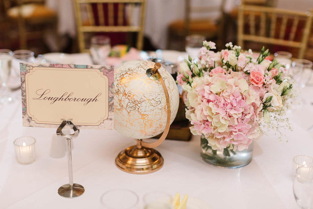 globe and flowers table decor