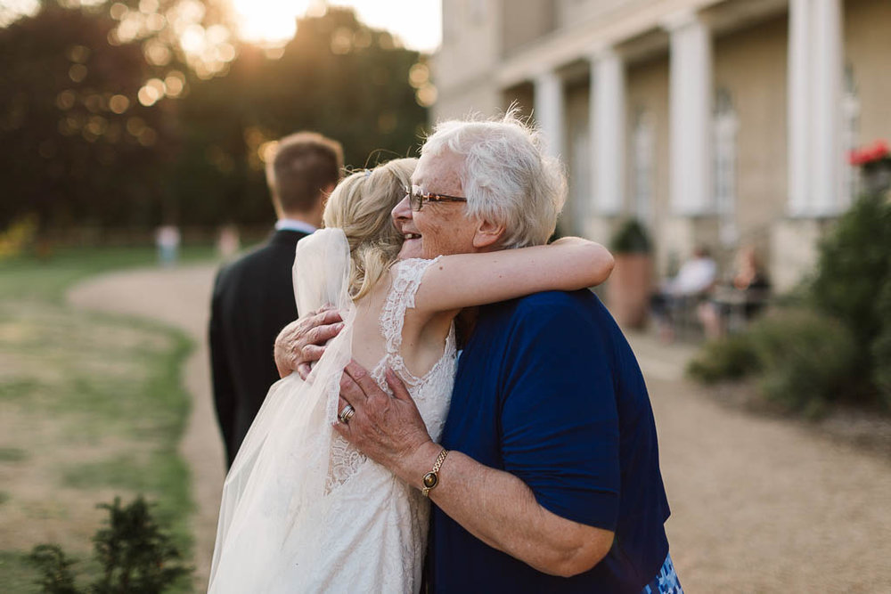 bride hugging nan