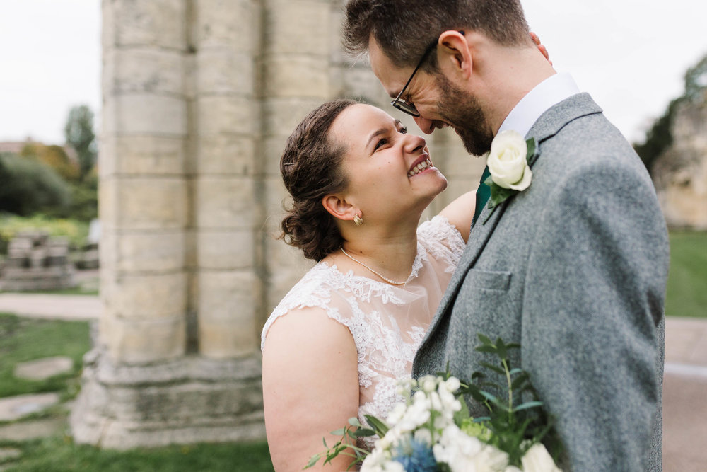 close up of bride and groom- Autumn Wedding at The Hospitium, York