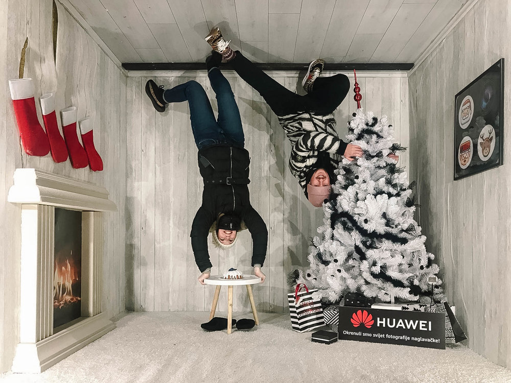 upside down with christmas tree