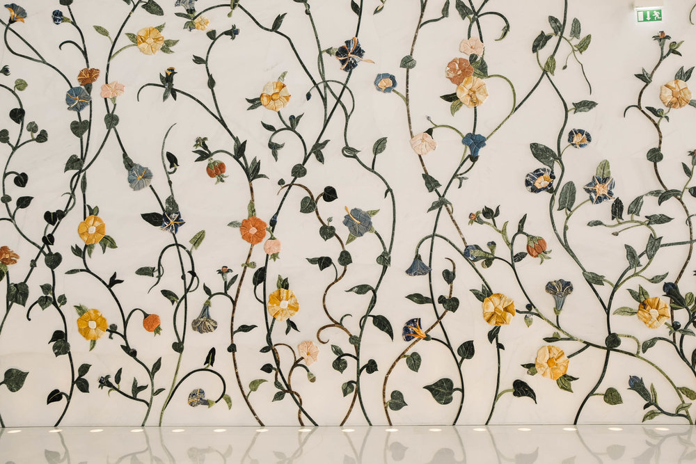 flower details on wall of mosque