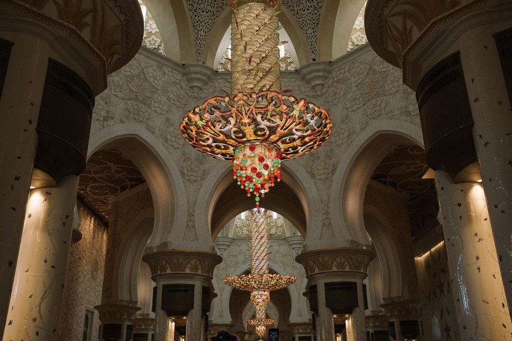 gold chandelier in mosque