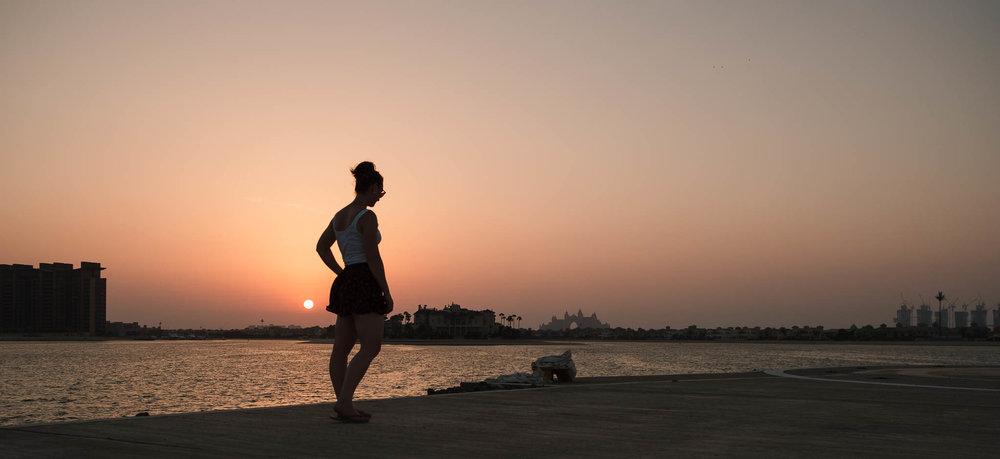walking by the sunset palm dubai