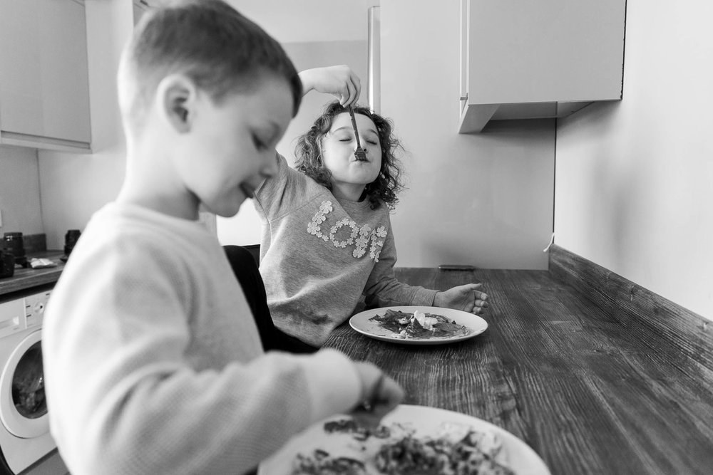 kids eating their home made pancakes