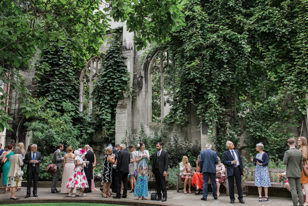 St Dunstan in the East Wedding Reception - Image by me- See full wedding gallery at  St Dunstan in the East here.