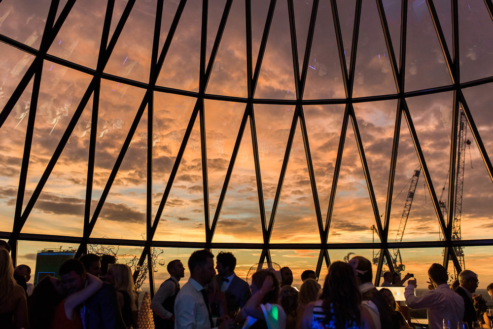 Sunset at the Gherkin Wedding Reception - Image by me- See full wedding gallery at  The Gherkin Here