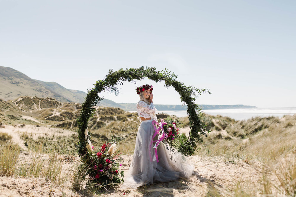 bride in sand dunes wedding photography