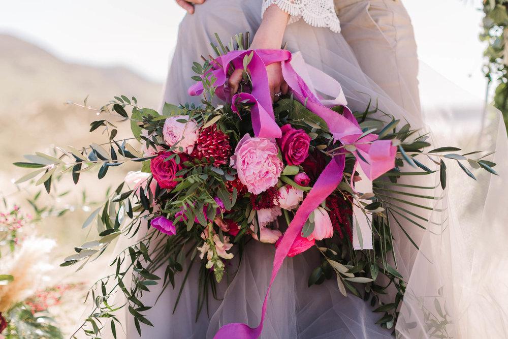 pink bridal bouquet- boho bride