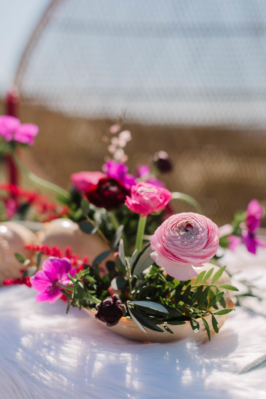 pink boho wedding flowers