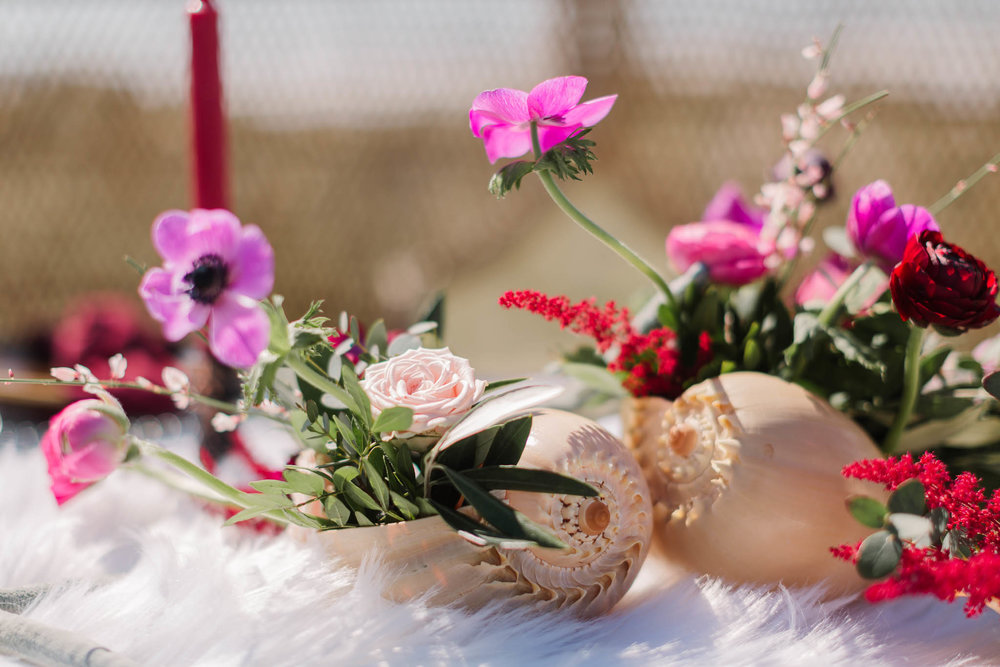 beach style wedding decor with shells