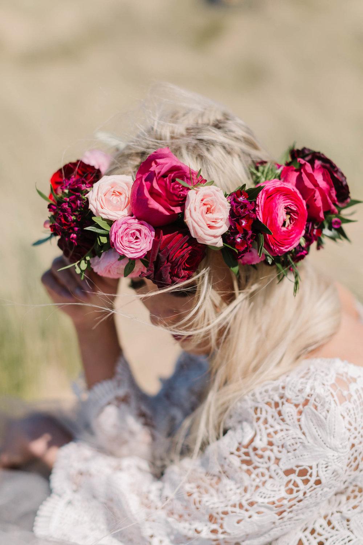 pink boho bride flower crown