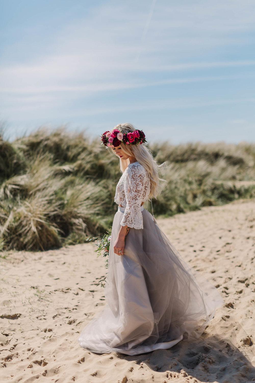 boho bride on the beach
