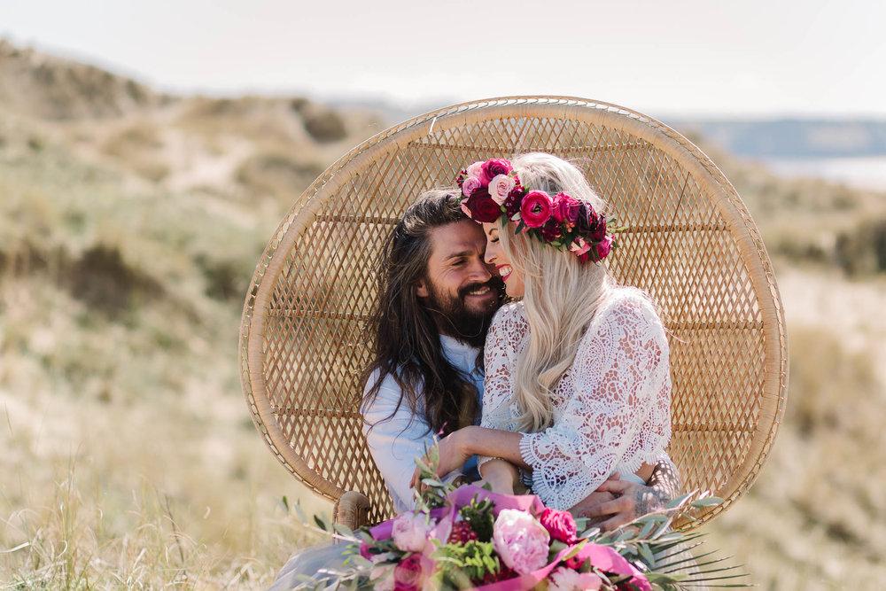boho wedding on the beach