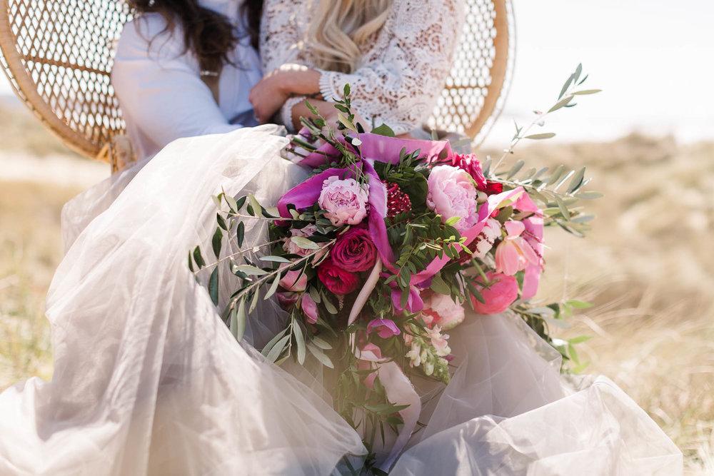 boho wedding flowers for beach wedding photography