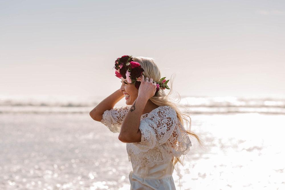 bride holding her flower crown