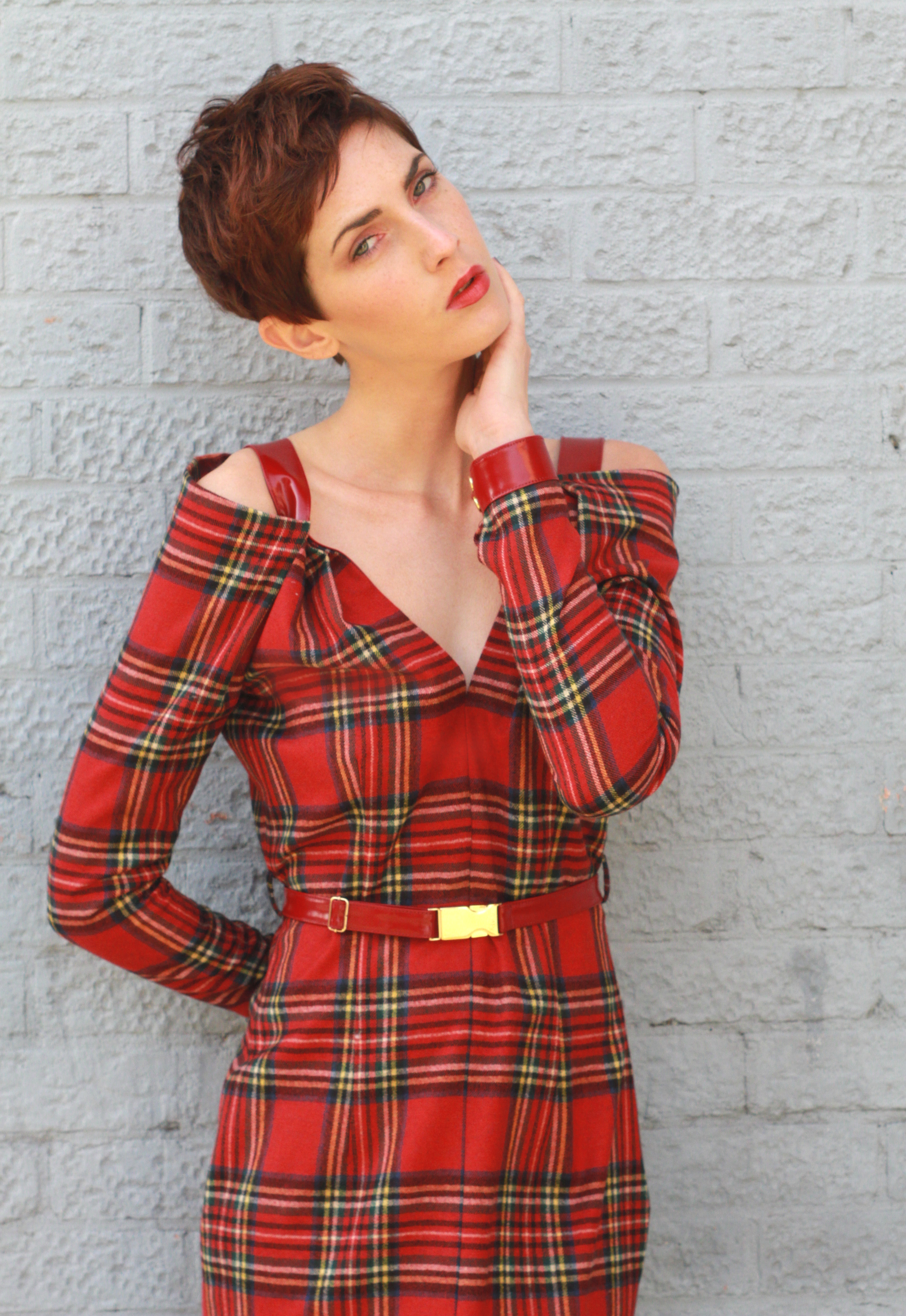 Anna Popovich Arabele Tartan Dress Red