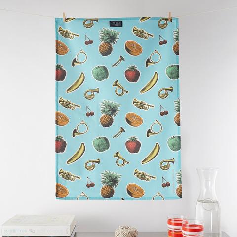 tooty fruity tea towel bird brain london