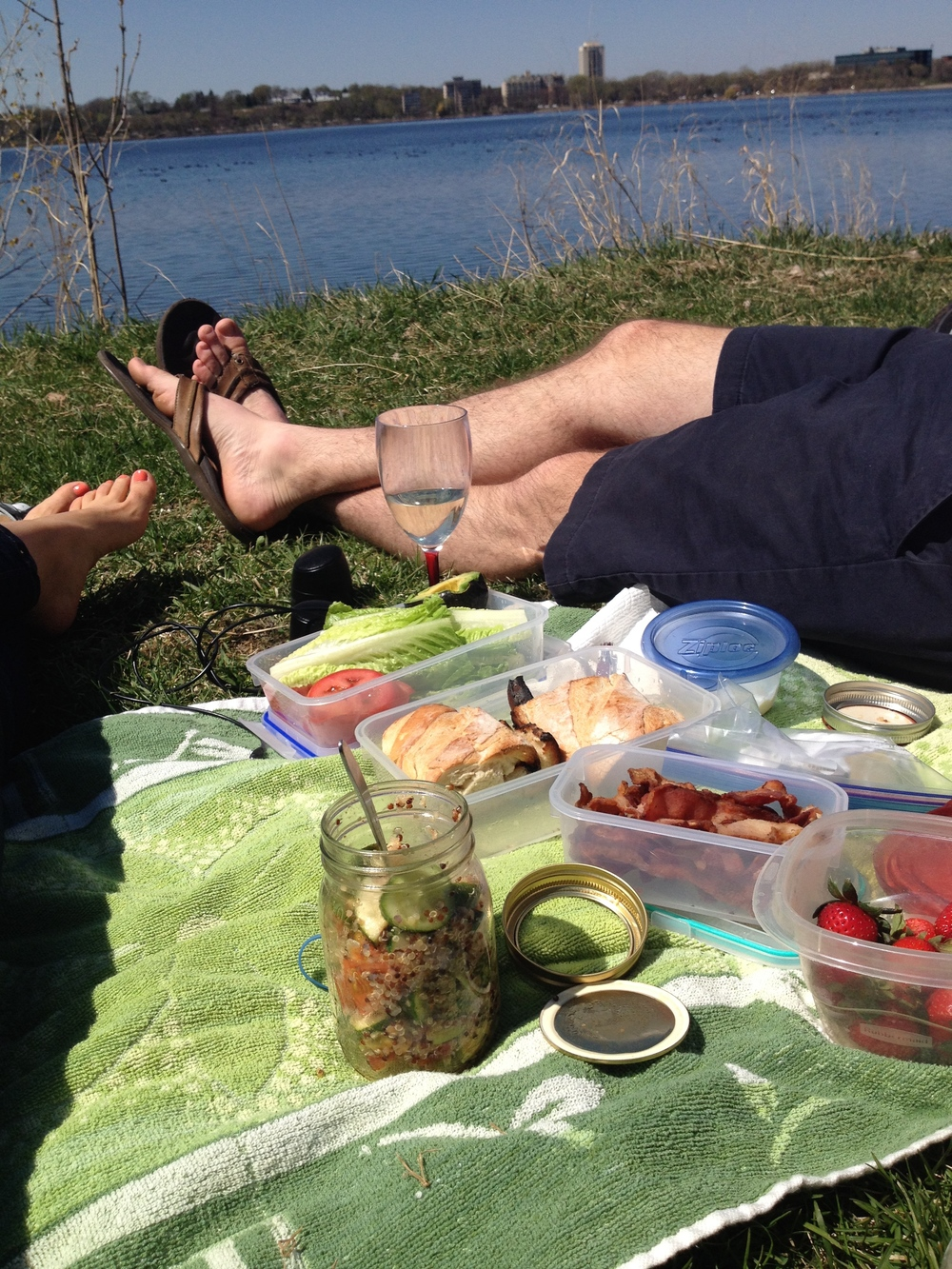 Lake Calhoun, Minneapolis, Minnesota--Mason jar salads and deconstructed BLTs.