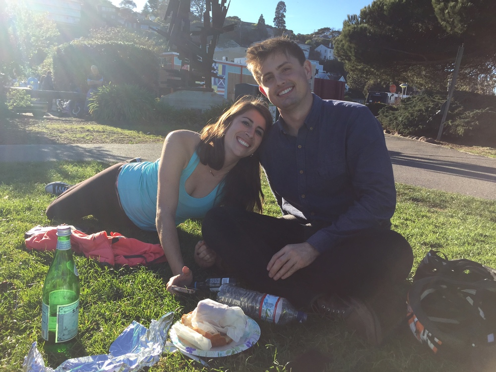 Sausalito, SF Bay Area, California--My friend Katie and her boyfriend Charlie during a late lunch in the park after biking the Golden Gate Bridge.