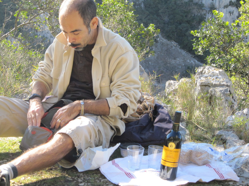 Pic Saint-Loup, Southern France--Alain, my French host mother Michèle's brother, demonstrates picnicking à la française.