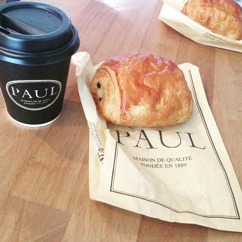 Pain au chocolate and coffee at Paul.