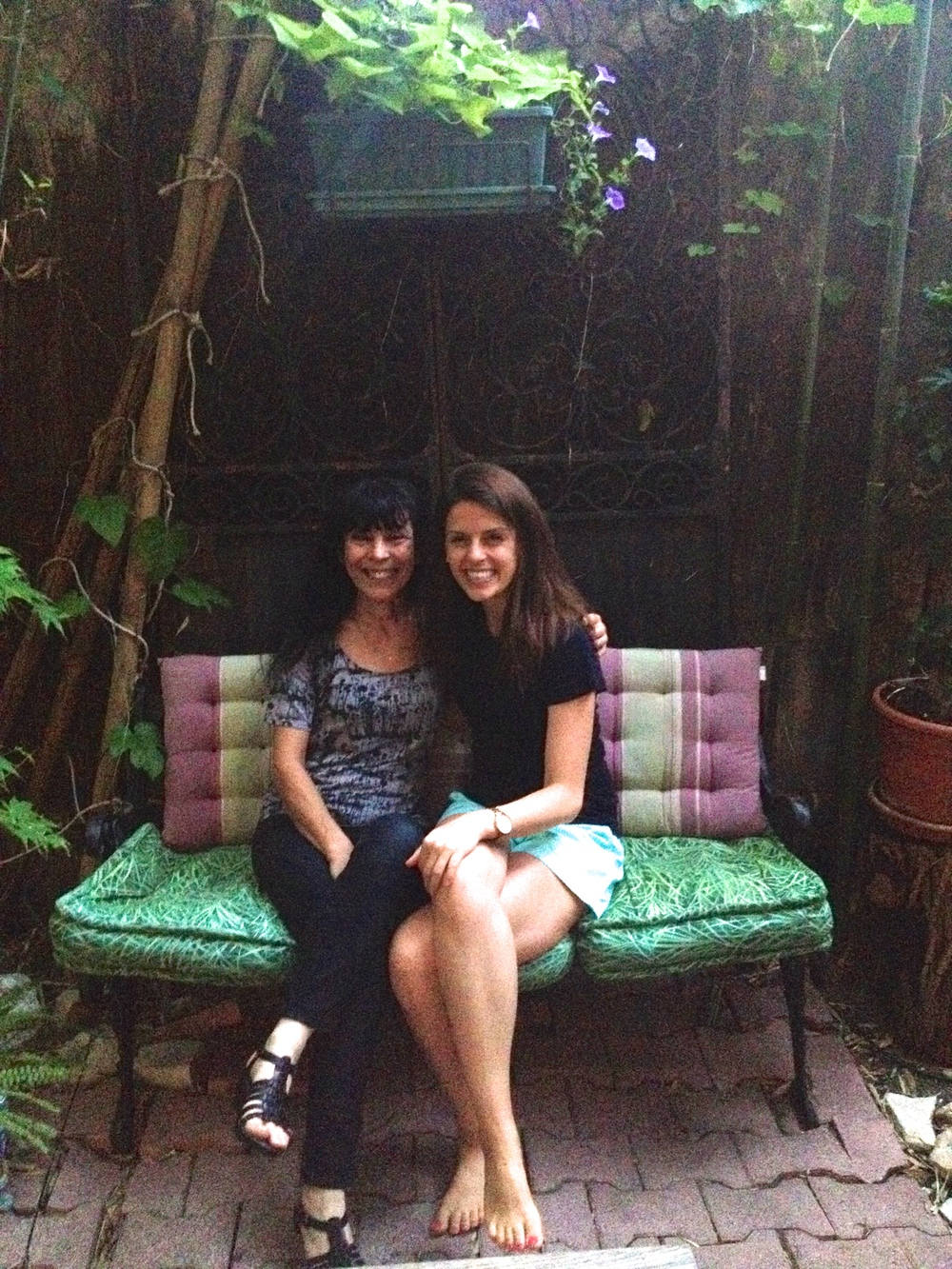 Reunited! Michèle and me in her garden.