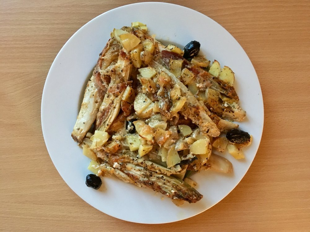 Here we have roasted endives with potatoes and pancetta. I had my doubts but it turned out to be pretty tasty!