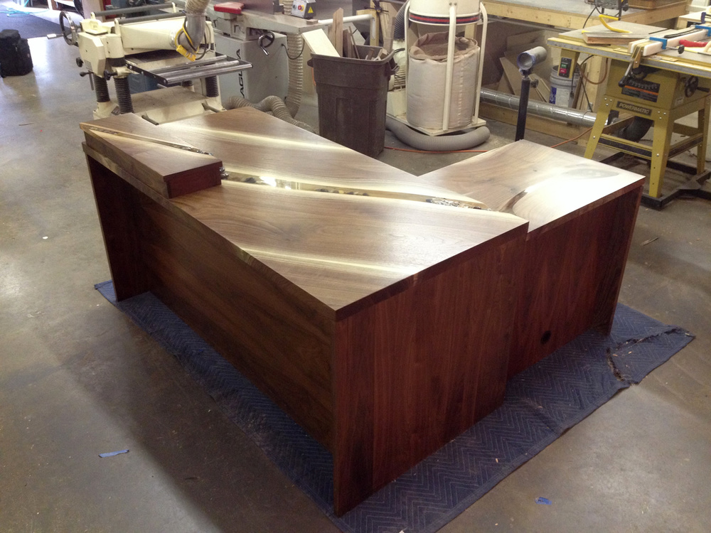 Custom Waterfall Desk by Eau Claire Woodworks
