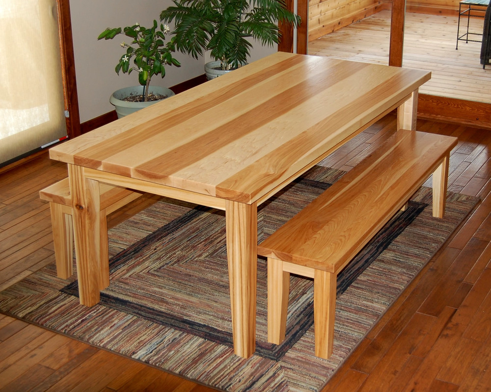 Custom Hickory Dining Table & Benches by Eau Claire Woodworks