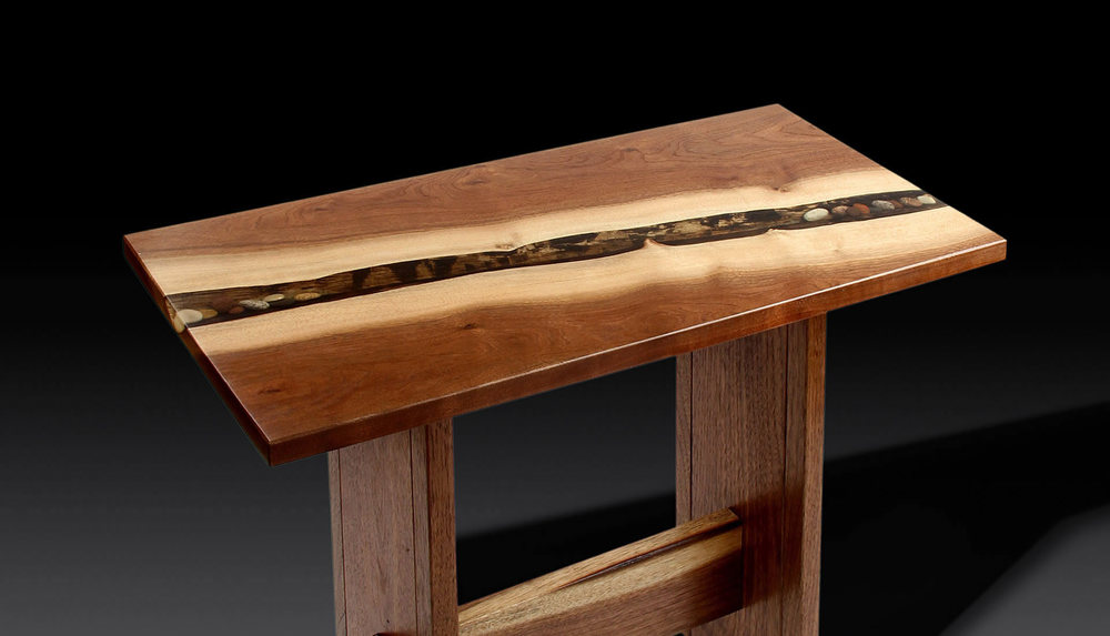 Solid walnut end table by Eau Claire Woodworks