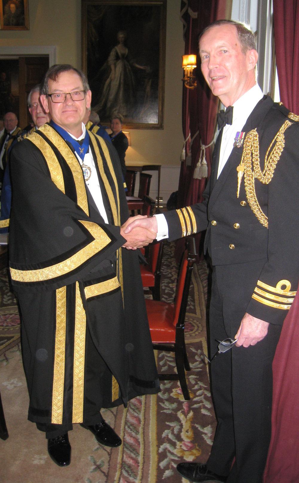 Clerk Cdr Mark Dickens RN & Retd Clerk Cdr Robin House RN Hon Liveryman