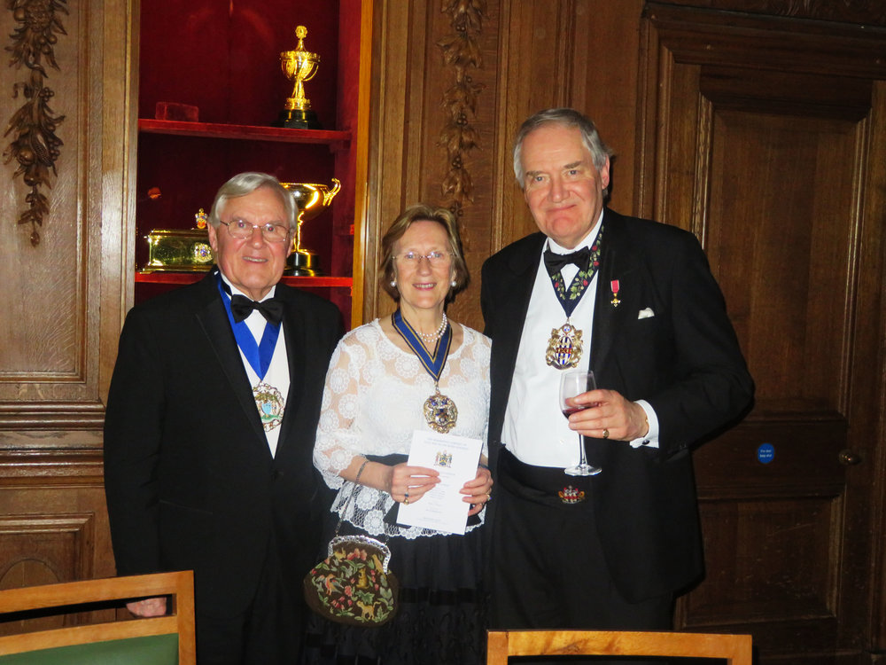 Mr Colin Tiffin Master Needlemaker, Mrs Ann Buxton Master Pewterer & Mr Roger Sanders OBE Master Broderer