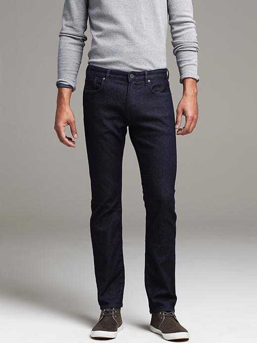 aa14053e14ba5 The Banana Republic Travelers may be the best jeans we have tried yet. The  denim is super soft and with 19% Polyester, they are a looser male version  of ...