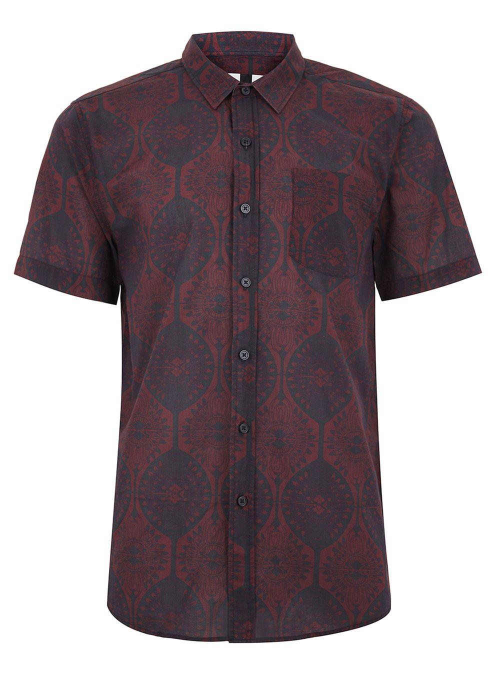 Topman men's Art deco Burgandy button down shirt