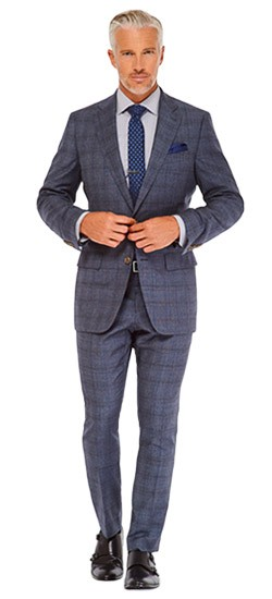 Indochino Slate Blue Plaid Suit