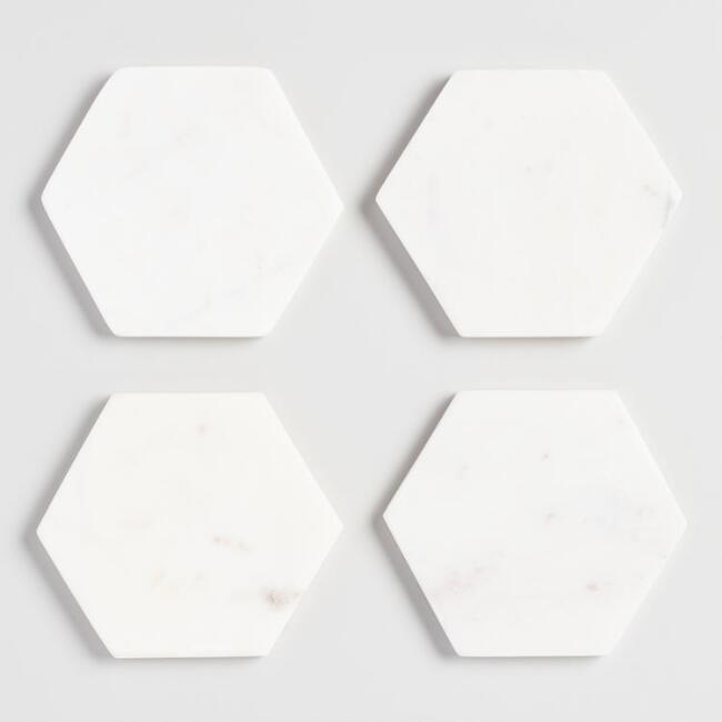 Marble Hexagon Coasters