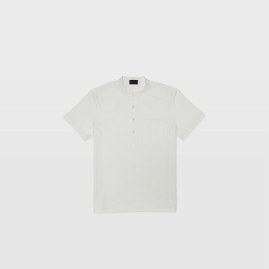 Club Monaco White Stripe short sleeve button henley.jpeg